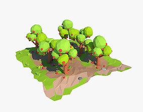 3D model realtime Cartoon apple orchard