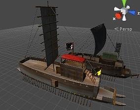 old samurai battle ship and old korea battle animated 3