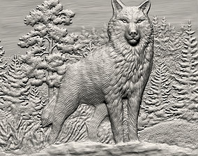3D printable model Wolf bas relief