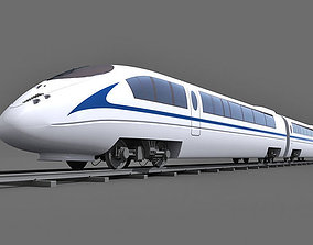 3D Blue Speed Train 3