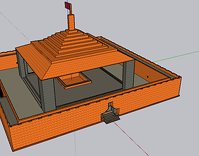 Temple 3D asset rigged