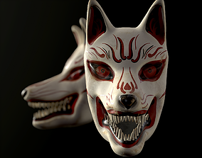 3D asset game-ready Japanese Kitsune Fox Mask