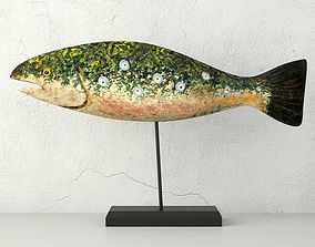 Hand Carved Wooden Fish 3D