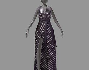 3D model women summer long black dress white dot high heel