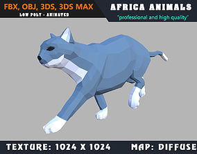 animated Low Poly Cat Cartoon 3D Model Animated - Game