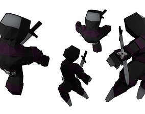 Ninja outfit for Basic human RIGGED 3D asset