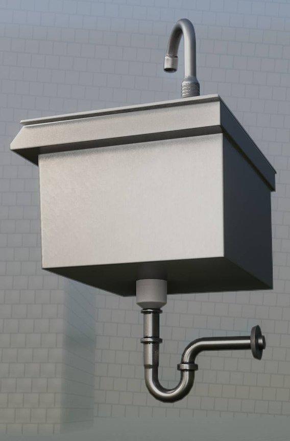 Public Metal Sink - 3 - Simple Low-poly (Blender-2.92 Eevee)