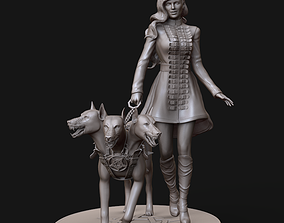 3D print model woman with hell dog stl and high poly