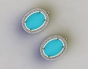 3D print model turquoise earrings