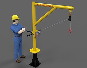 3D model Davit crane 1000 lbs