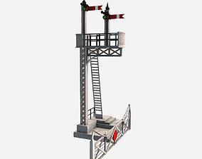 3D model Low Poly PBR Train Signal Crossing