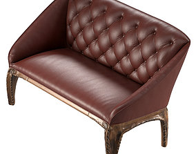 3D model realtime Antique Leather 2 Seater