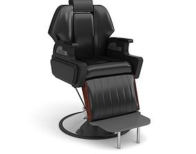 3D Black Leather Parlor Chair