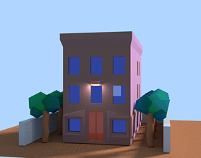 Low Poly Old Building Office Style or Business 3D asset 3