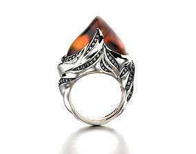 Exclusive fashion ring with fire opal 3D printable model