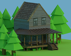 Low-poly Medieval House 3D asset game-ready