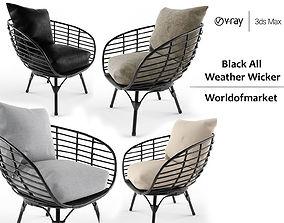 Black all weather wicker seat 3D model