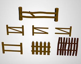 Low Poly Fences 3D asset low-poly