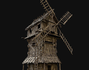 Wooden Enterable Windmill 3D model low-poly