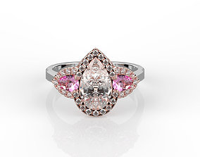 Pear shaped engagement ring rose gold 3D print model