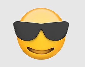 Emoji smiling face with sunglasses faces 3D
