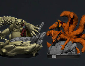 naruto and gaara with their tailed beasts 3d print