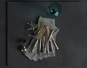 3D model Vintage Cutlery Salt Shaker Plant and Napkin