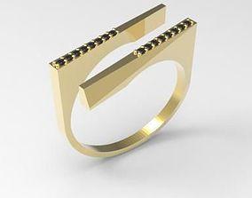 unique diamond ring 3d printable model silver