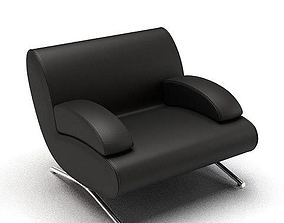3D model Black Leather Armchair