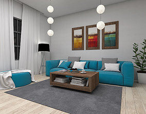3D Living Area interior scene