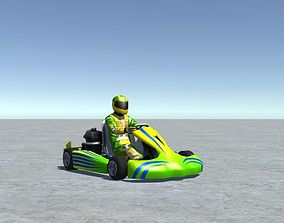 3D model Low Poly Kart With Player 7