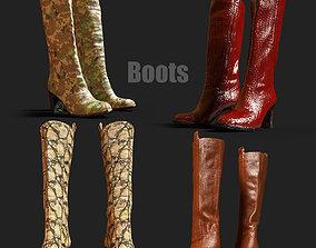 4 Realistic Boots PBR 3D asset