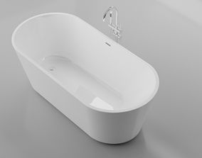 3D model Oval freestanding Acrylic Bathtub and Mixer
