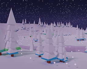 animated Winter Scene and Christmas Trees 3D