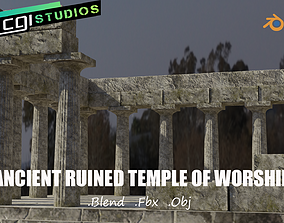 Ancient Ruined Temple Of Worship 3D model