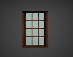 3D asset Wooden Window Low Poly Game Ready