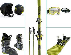 3D Winter Sport Equipment Ski and Snow