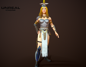 Lady Warrior 3D model rigged
