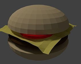 Low-poly cheesburger 3D asset