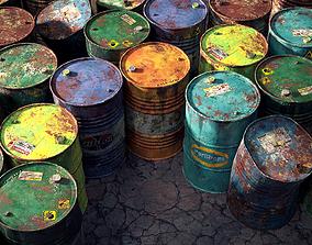 9 Industrial Barrels 3D model realtime