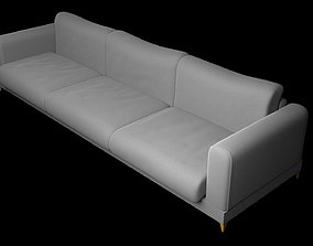 Loveseat and 3 seater couch 3D model indoors
