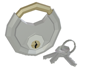 3D asset Low Poly Circular Key Lock Padlock