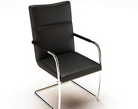 3D model Simple Black Leather Chair