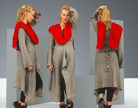 3D asset Blonde in Knit Grey Dress and Red Scarf