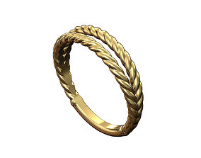 Double row twisted wire ring 3D printable model