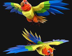 Cartoon Parrot 3D asset