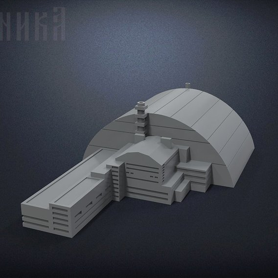 Sarcophagus of power unit of the Chernobyl nuclear power plant 3D print model