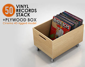 50 Vinyl Records Stack with Plywood Box rigged 3D
