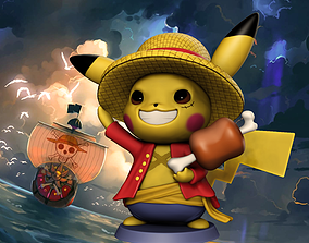 Pikachu Luffy Cosplay 3D print model