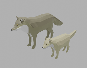 Cartoon Wolf Family 3D asset animals